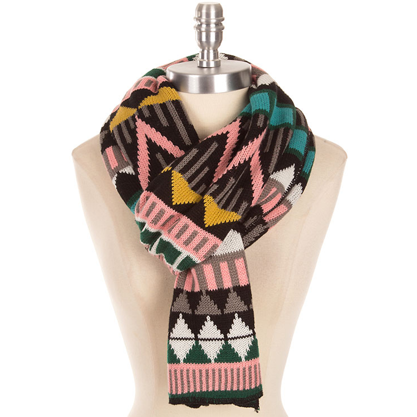 Pungles - Online Store - Aztec Pink Black Thick Soft Knit Winter Scarf