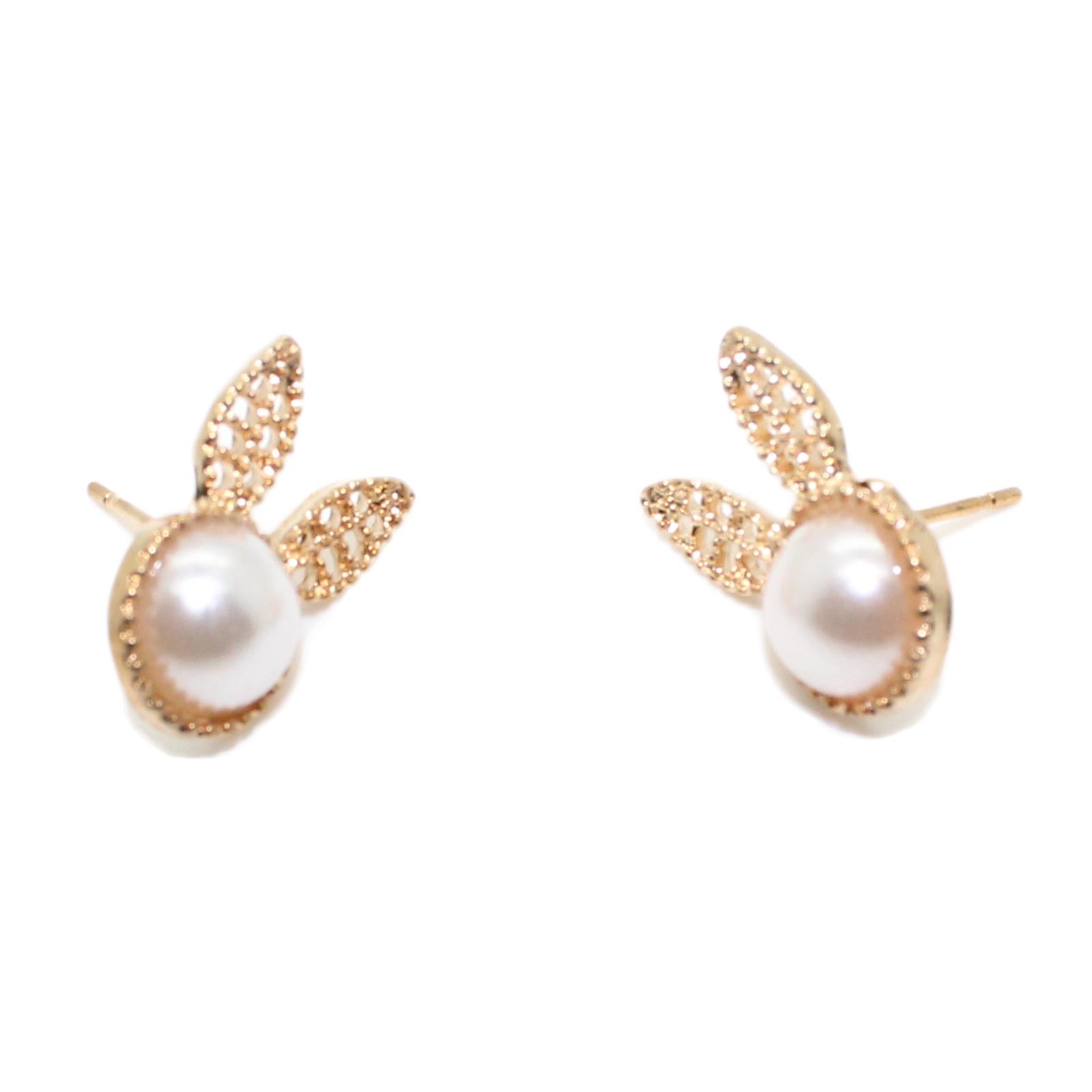 Imitation Pearl Rabbit Stud Fashion Jewelry Earrings