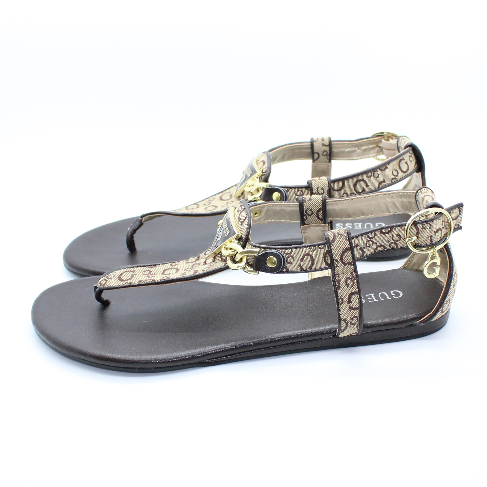91161ee93383 Pungles - Online Store - Jacquard Fabric Chain Brown Thong T-strap ...