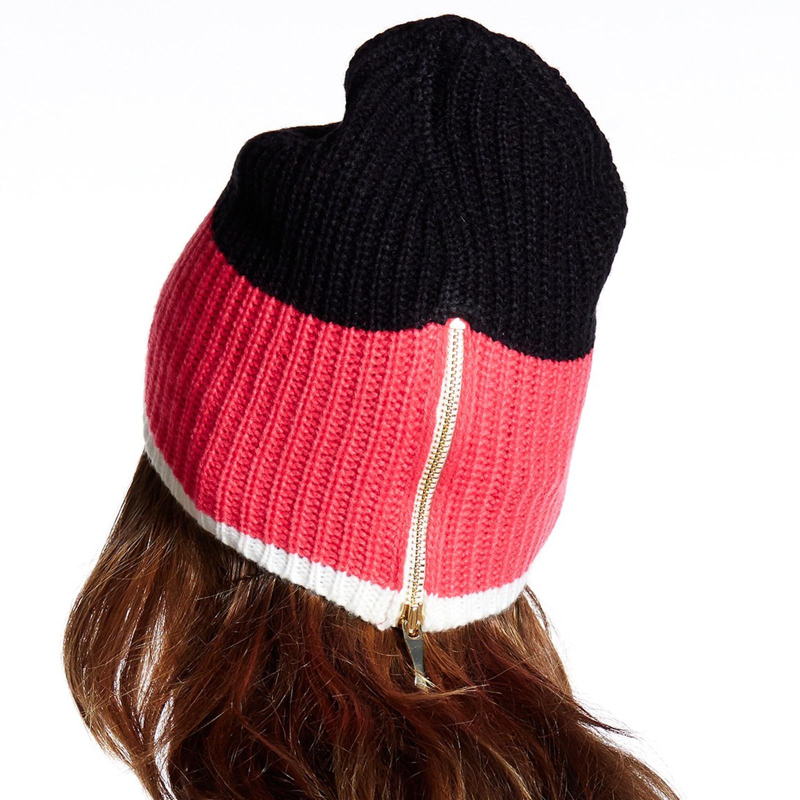 Pungles - Online Store - Rib Knit Zip-up Back Black Pink Cream ... f10c19740d7