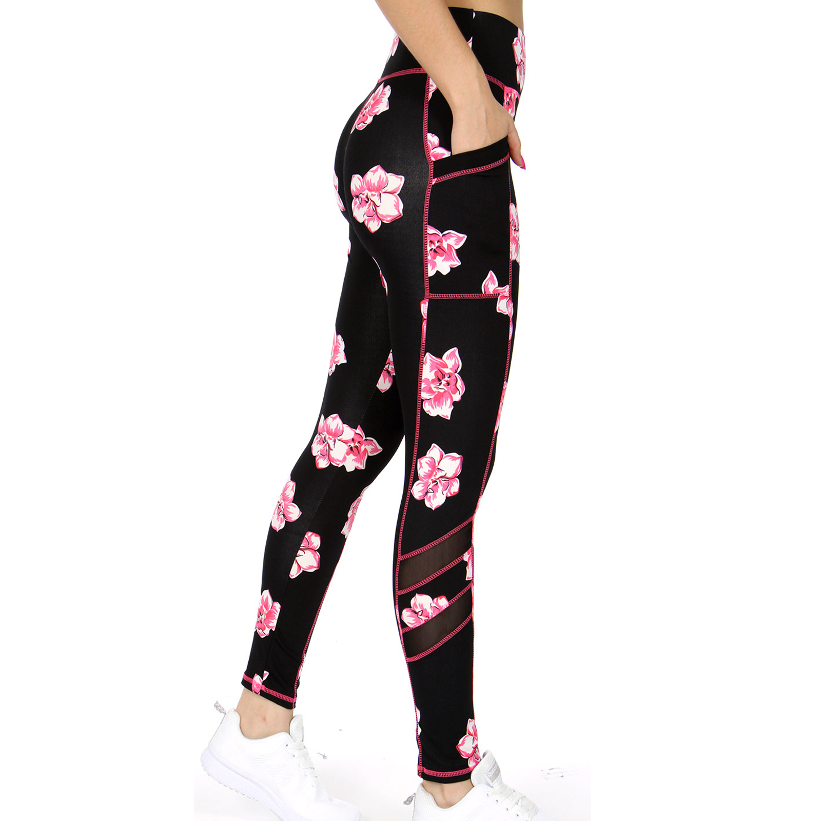 cedc9bfd55 Pungles - Online Store - Floral Athletic Mesh Panels Side Pockets ...