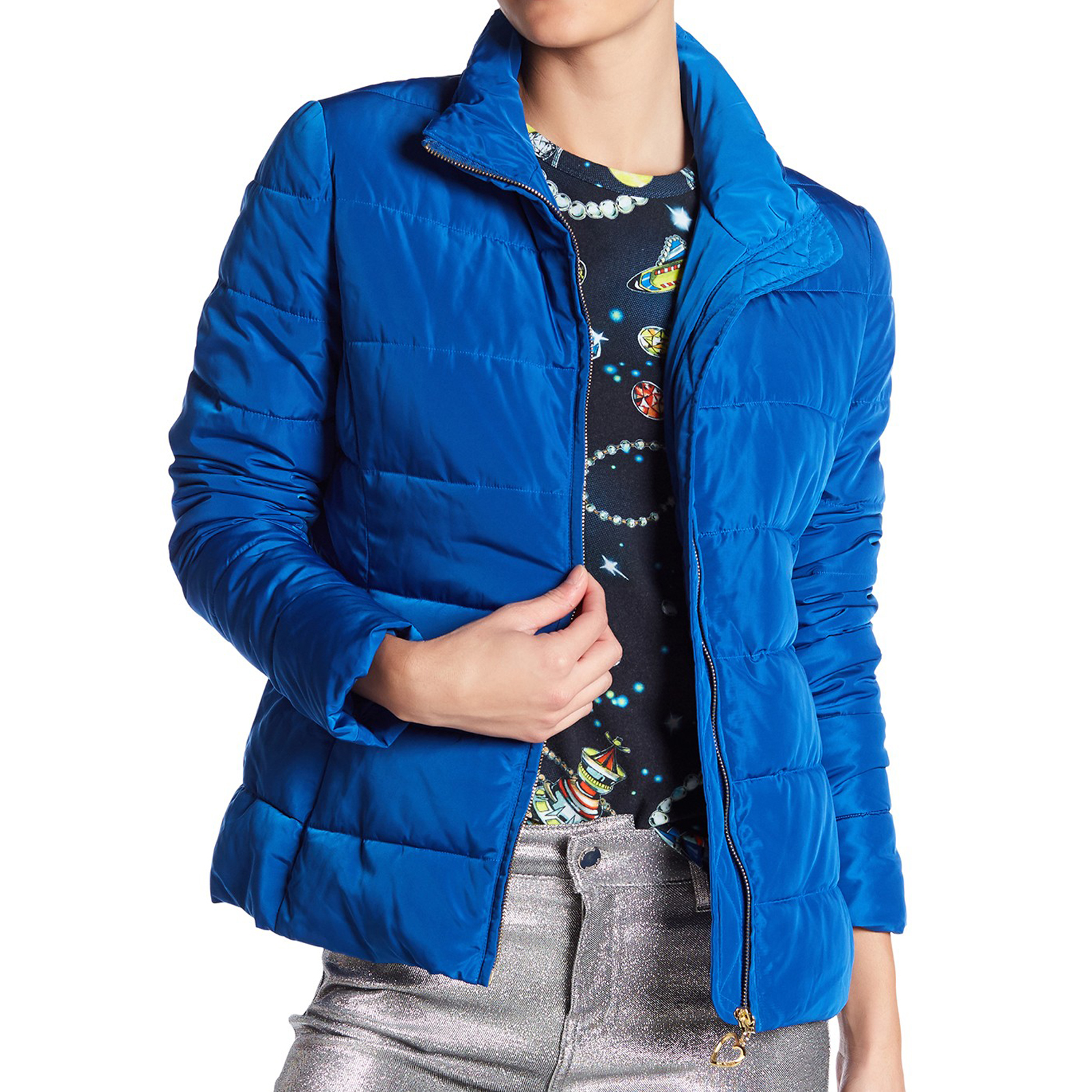 153cb2b6ebc Pungles - Online Store - Quilted Funnel Neck Blue Coat