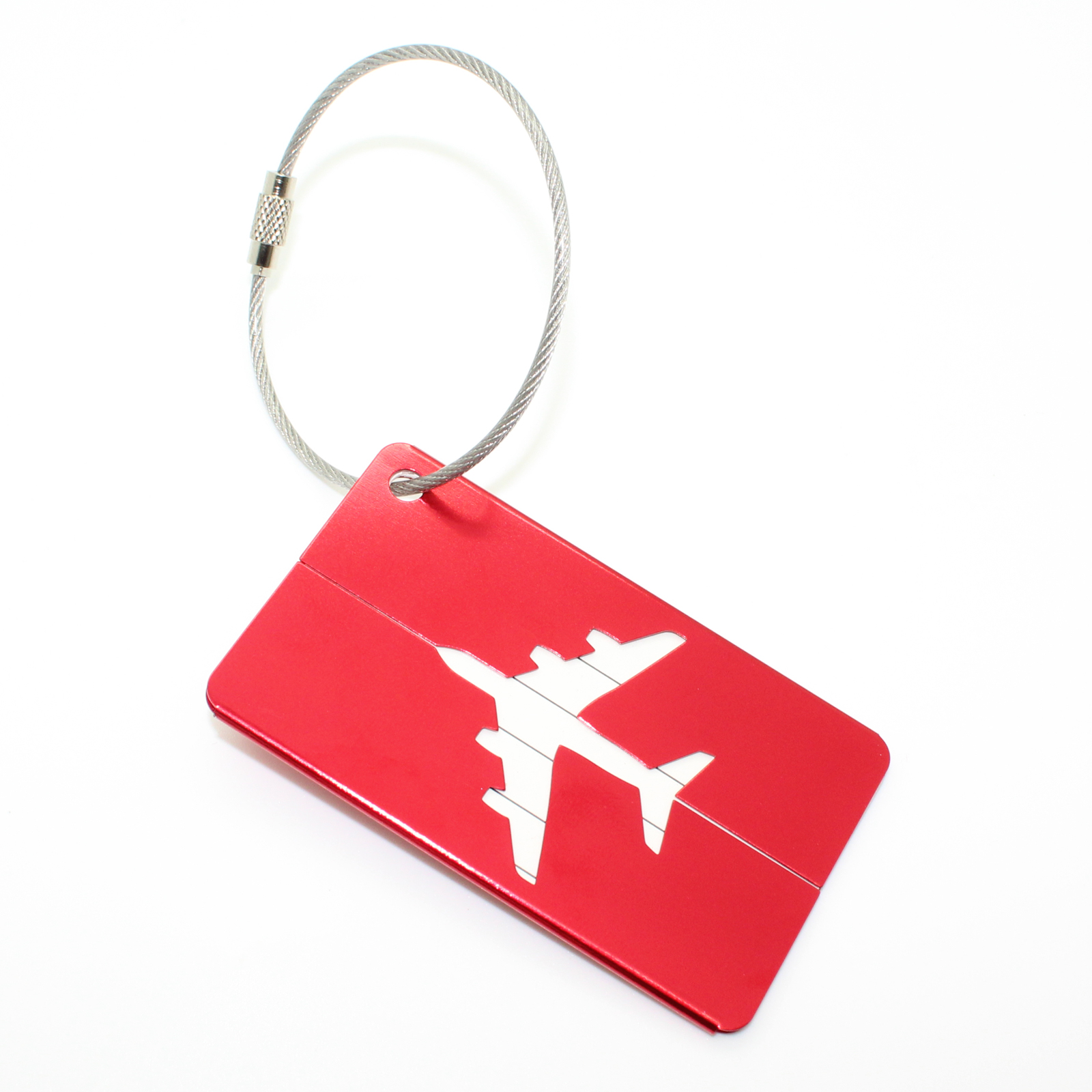 7f86588a8b25 Travel Luggage Aluminum ID Suitcase Red Tags - SET OF 2
