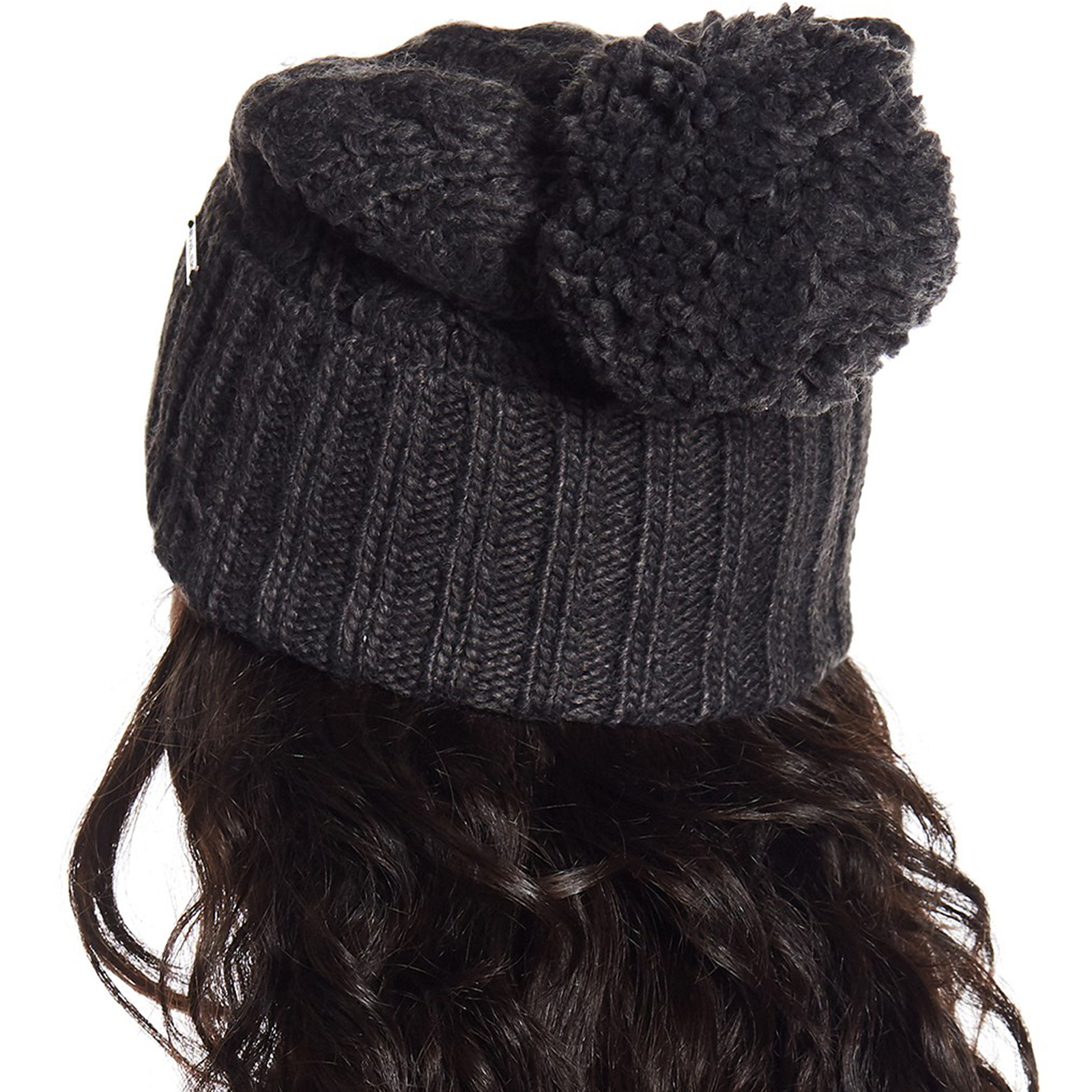 Pungles - Online Store - Cable Rib Knit Cuffed Pompom Grey Beanie Hat b3b76c03a68