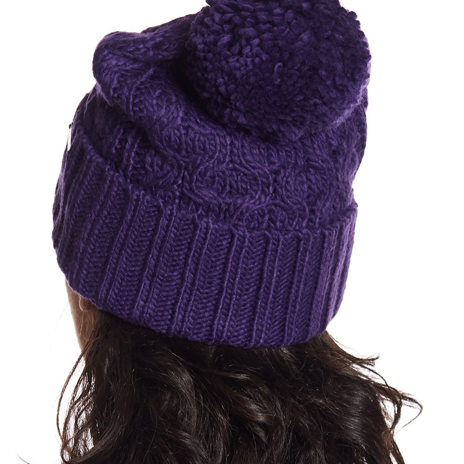 e555f180ba9 Pungles - Online Store - Cable Rib Knit Cuffed Pompom Purple Beanie Hat